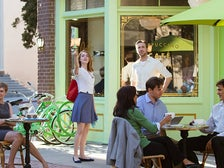 "Emma Stone and Ryan Gosling at Café Sur Le Lot in ""La La Land"""