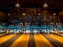 Bowling lanes at Highland Park Bowl