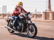Irena Murphy riding her motorcycle in Downtown L.A.