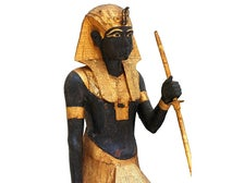 """Wooden Guardian Statue of the King from """"KING TUT: Treasures of the Golden Pharaoh"""" at CA Science Center"""