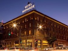 Hotel Normandie exterior at night