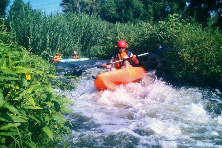 Whitewater kayaking on the L.A. River