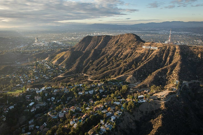 Hollywood Sign aerial photo from above Los Feliz