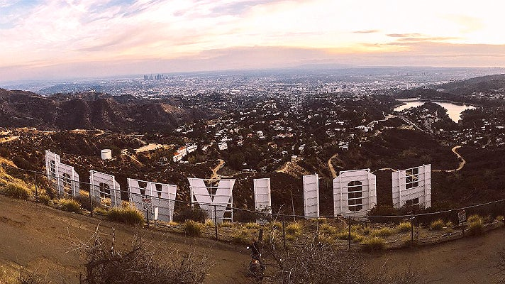 Hollywood Sign viewed from the back