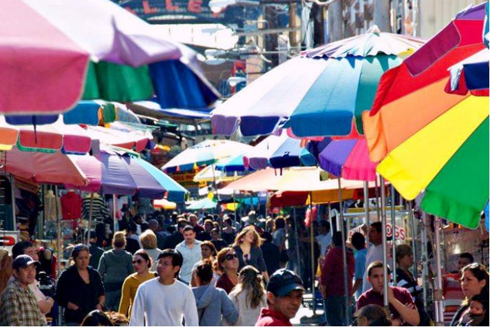 Umbrellas at The Santee Alley in the L.A. Fashion District