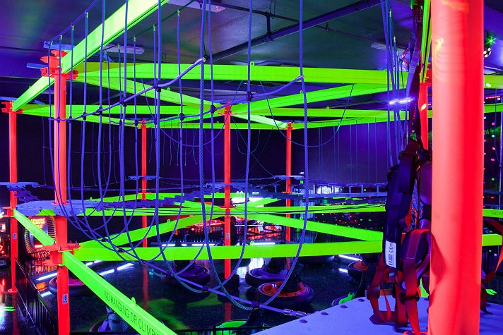 Ropes course at Glowzone Los Angeles