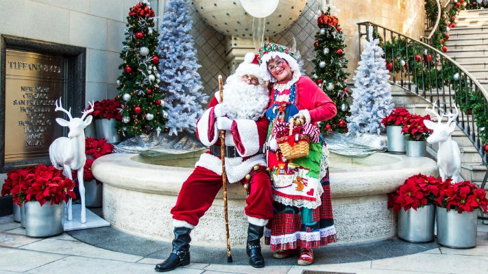 Santa and Mrs. Claus at Two Rodeo Drive in Beverly Hills