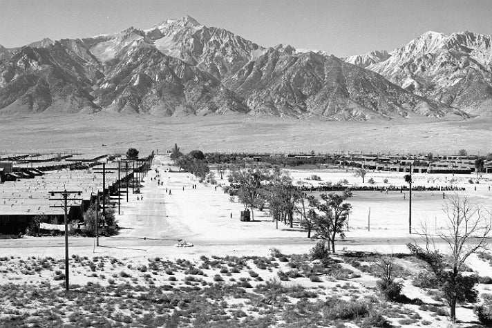 """Ansel Adams, """"Manzanar from Guard Tower,"""" 1943 [detail]. Gelatin silver print (printed 1984). Private collection; courtesy of Photographic Traveling Exhibitions."""