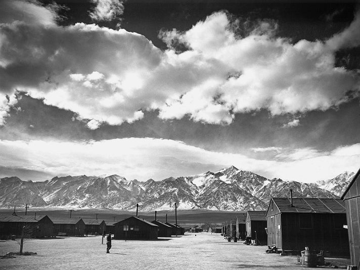 """Ansel Adams, """"Manzanar Street Scene, Spring,"""" 1943 [detail]. Gelatin silver print (printed 1984). Private collection; courtesy of Photographic Traveling Exhibitions."""