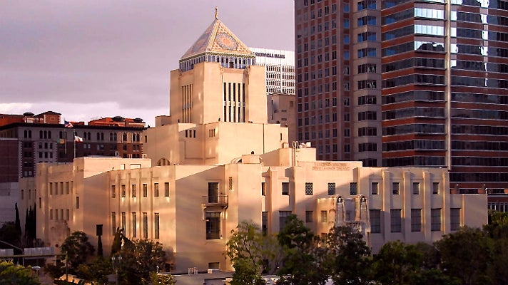 Exterior of Richard J. Riordan Central Library in Downtown L.A.