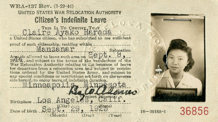 Citizen's Indefinite Leave Card on display at Skirball Cultural Center