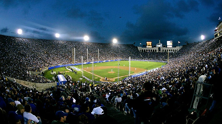 Los Angeles Dodgers 50th anniversary exhibition game at the L.A. Coliseum