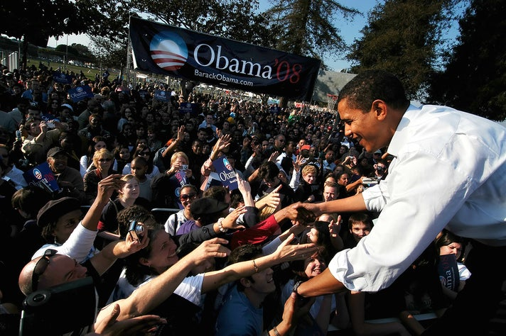 Presidential candidate Senator Barack Obama greets supporters at a rally at the at the Rancho Cienega Sports Complex in Los Angeles