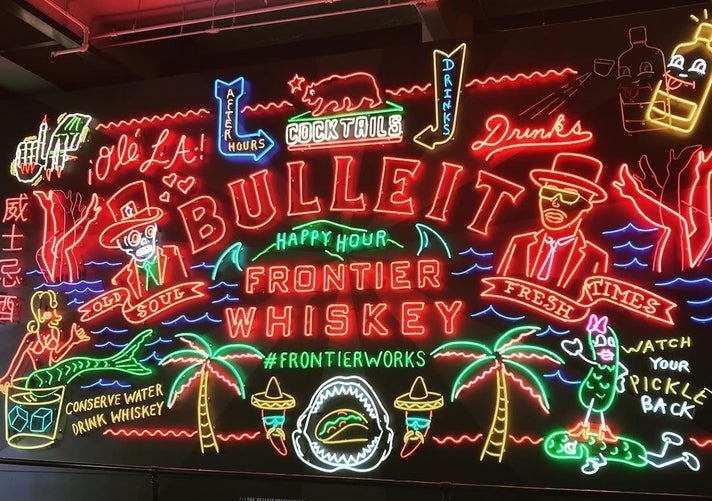 Bulleit Neon Sign at Grand Central Market