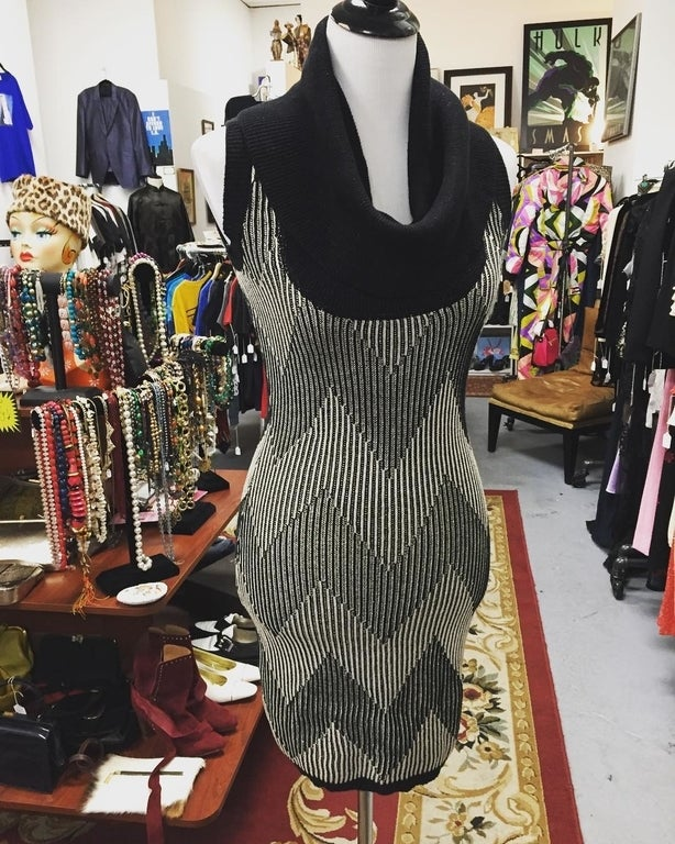 1980s cowl neck sweater dress at Guido in L.A.