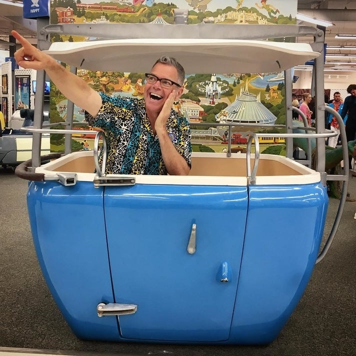 Charles Phoenix in a vintage Skyway bucket at That's From Disneyland!