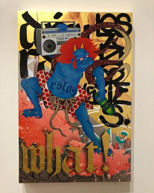 """""""And What! (Fujin)"""" by Gajin Fujita from """"Don't Believe the Hype"""" at the Chinese American Museum"""