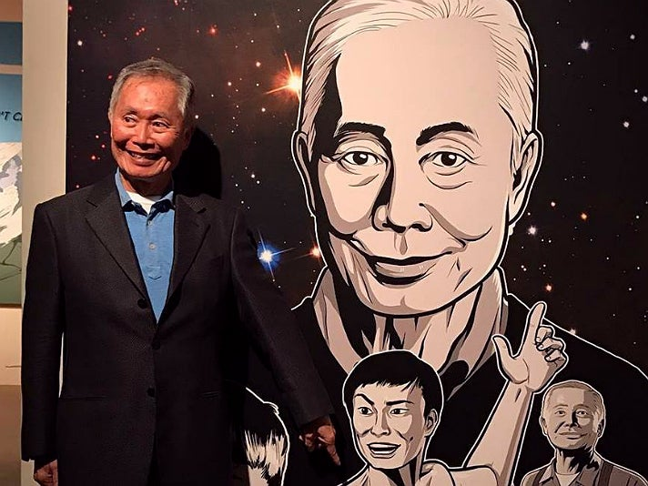 """George Takei at the opening day for """"New Frontiers"""" at JANM"""