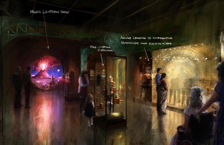 """Concept illustration of Magic and Motion gallery from """"Where Dreams Are Made"""" at Academy Museum"""