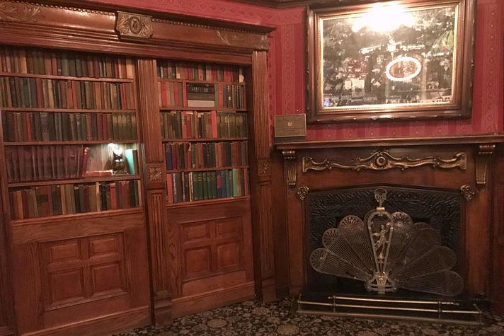 Secret bookcase entrance to the Magic Castle in Hollywood