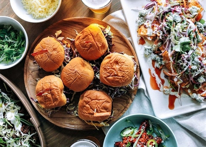 Super Bowl burger spread by Belcampo Meat Co