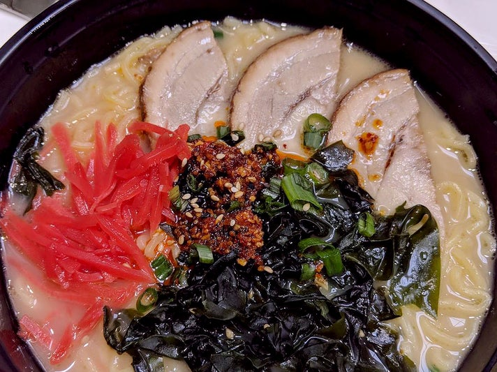 Spicy pork ramen at Skewers by Morimoto LAX Terminal 5