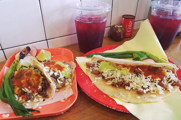 Carne Asada & Pollo Tacos; Caramelo with Sonoran style chorizo by The Chori-Man at Sonoratown