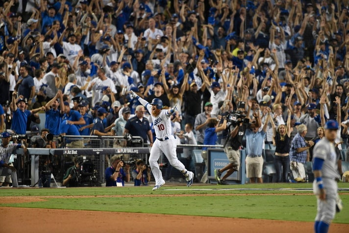 Justin Turner's walk-off home run in Game 2 of the 2017 NLCSJustin Turner celebrates his walk-off home run in Game 2 of the 2017 NLCS