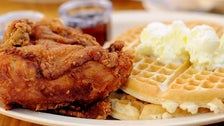 Chicken and waffles at Roscoe's