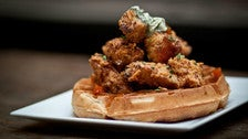 Chicken and waffles at Wood & Vine