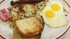 Classic breakfast plate at Bobby's Coffee Shop