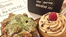 Matcha & blueberry muffin and raspberry & truffle cupcake at by CHLOE. in Silver Lake