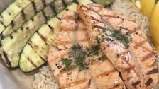Garlic butter salmon at Crazy Fish Grill & Market in San Pedro