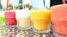 Melon, strawberry, house, mango and peach Margaritas at El Coyote Cafe