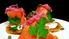 Smoked salmon blini at Marche Wine Bar