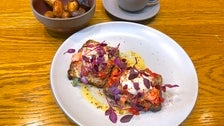 Atlantic Smoked Salmon with poached eggs, tomato relish, pickled red onion, mustard hollandaise, Danish rye at Paramount Coffee Project