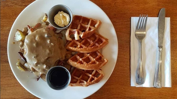 """Chicken"" & Waffles at Flore Vegan"
