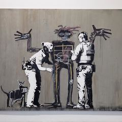 """""""Boy and Dog in a Stop and Search,"""" a new painting by Banksy for Beyond the Streets"""