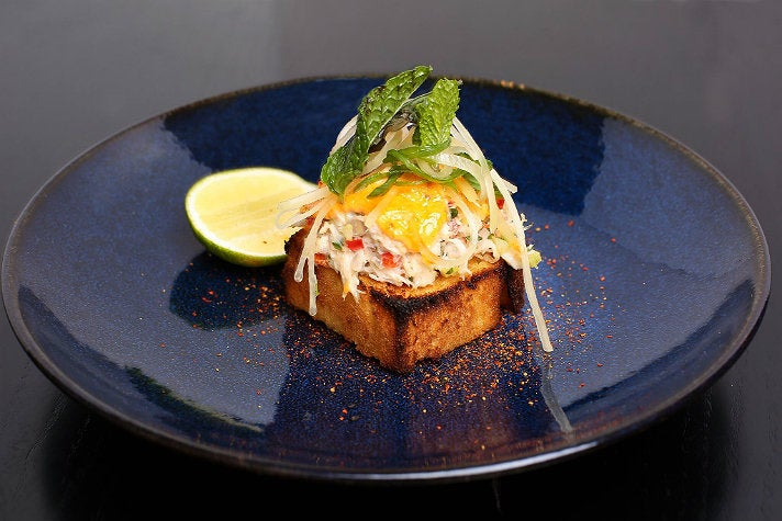 Dungeness crab toast at Boxwood on the Roof