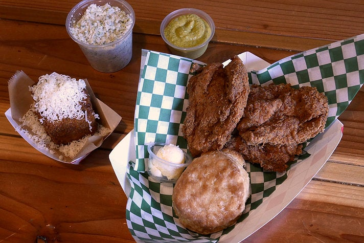 Hunka Hunka Fried Chicken Love at Braise & Crumble Café