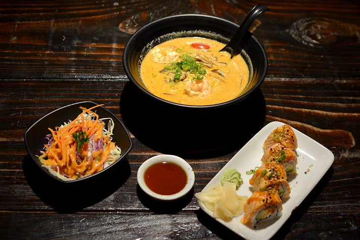 The Original Ebaes Ramen lunch combo with salmon roll