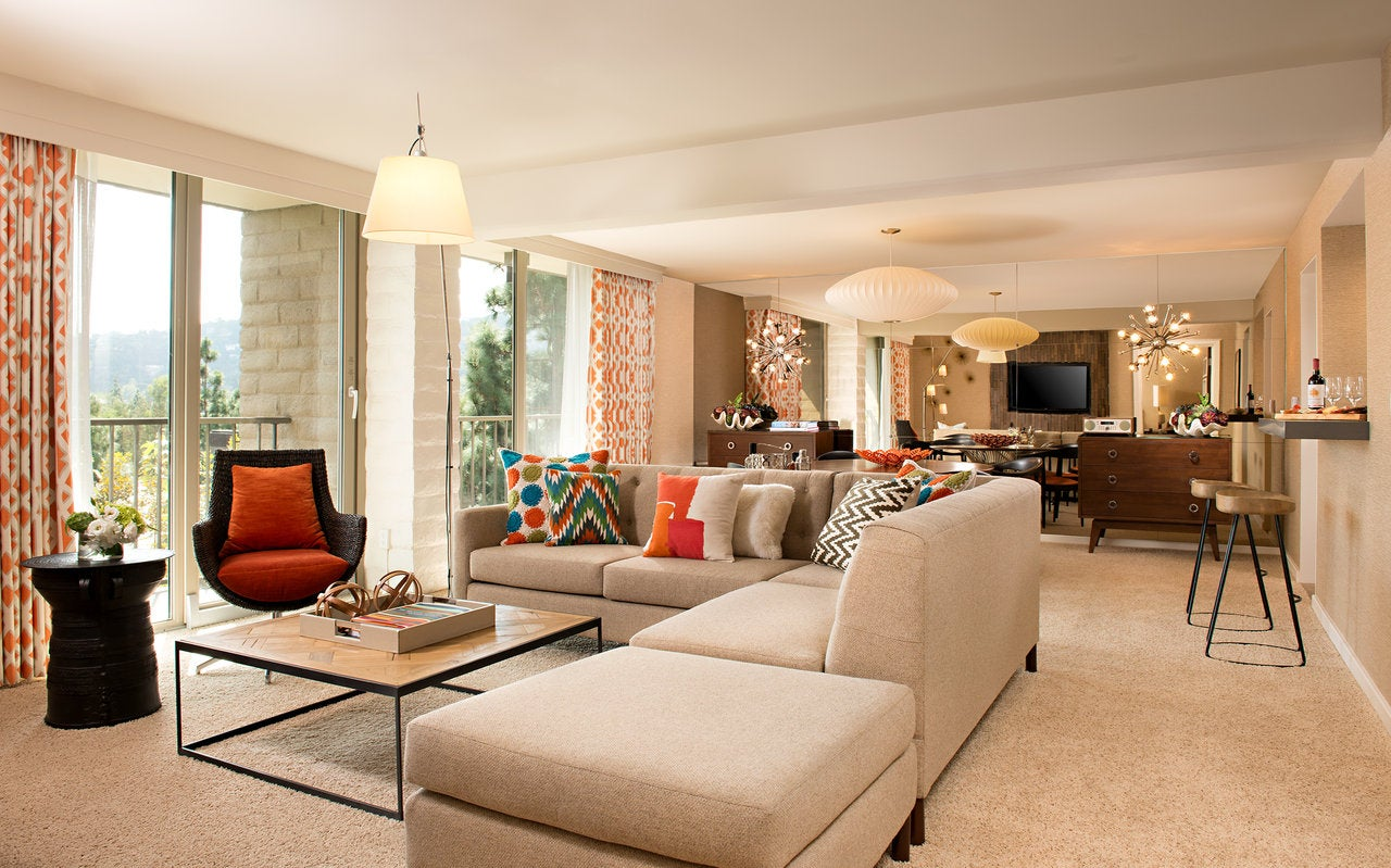 Living room of the James Suite at The Garland