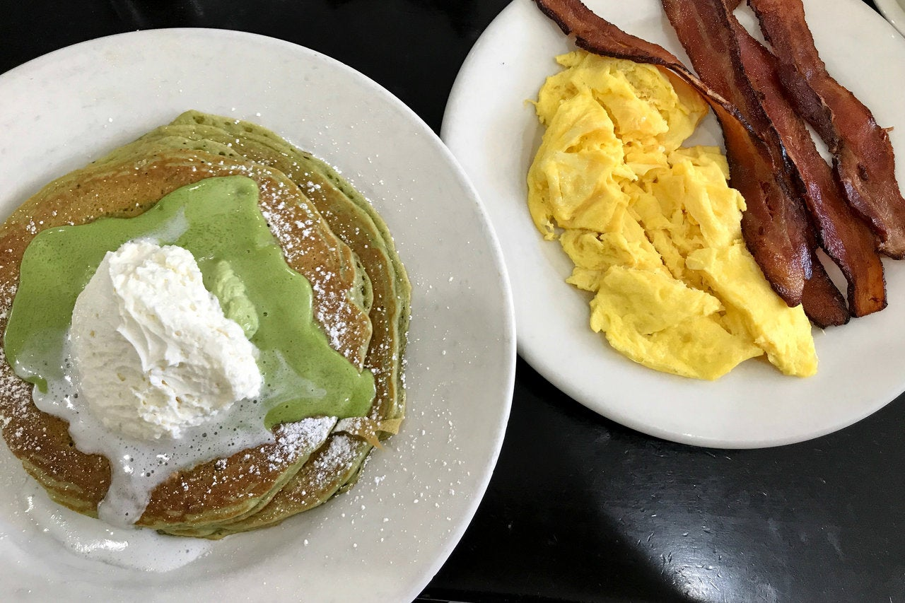 Pooh's Sunrise with Green Tea Monster pancakes at Bea Bea's