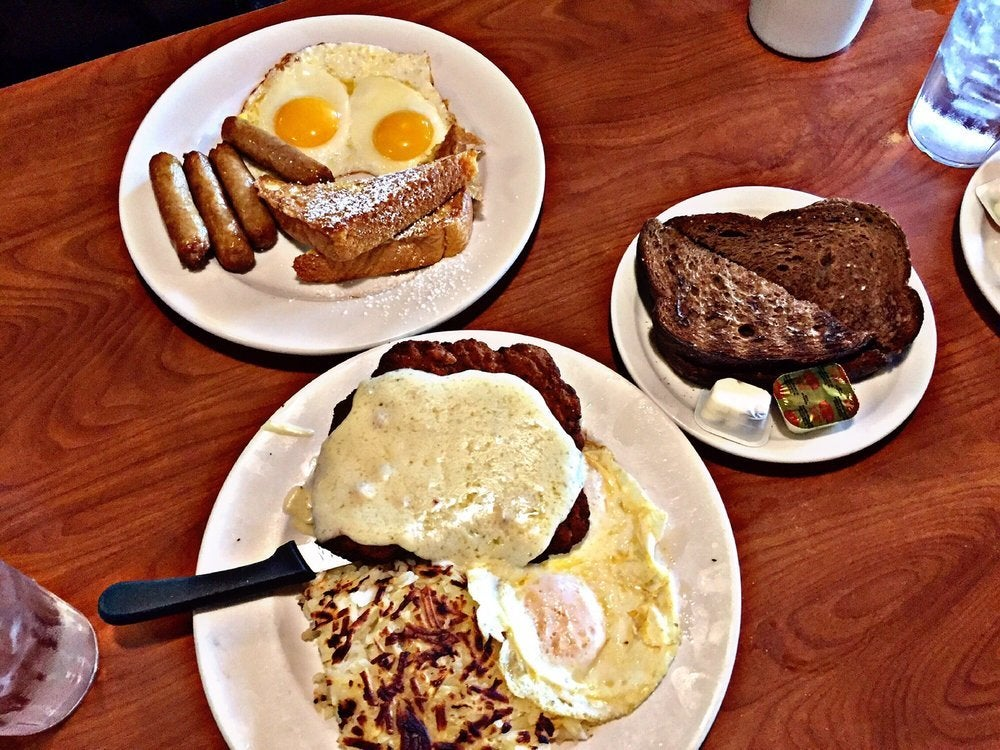 Two Eggs with Country Fried Steak and French Toast Combo at Patys Restaurant