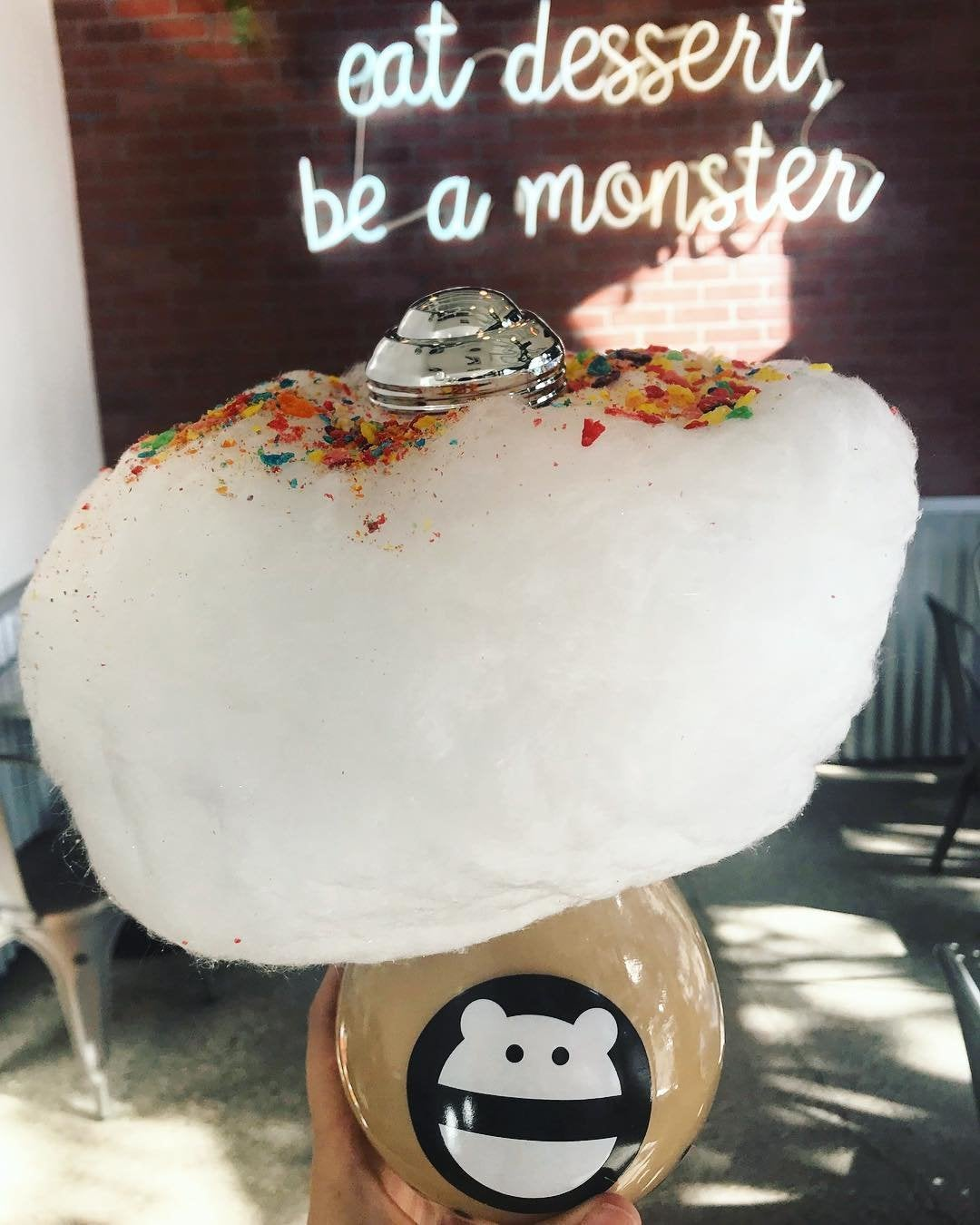 "Honey tea with boba and ""rainbow cloud"" at Snow Monster"